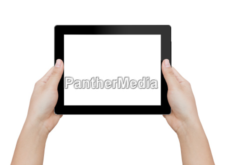 donna, mano, tenendo, tablet, digitale, isolato - 16217507