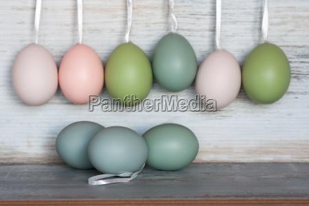 easter eggs in pastel