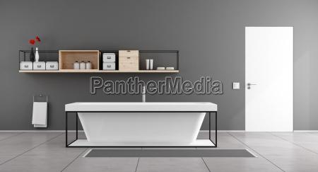 white and gray minimalist bathroom