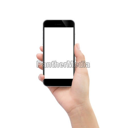 hand holding black phone isolated on