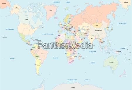 mappa del mondo in lingua tedesca