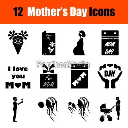 set of mothers day icons