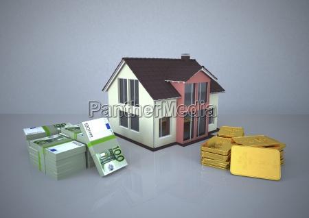 illustrazione casa oro soldi strategia di