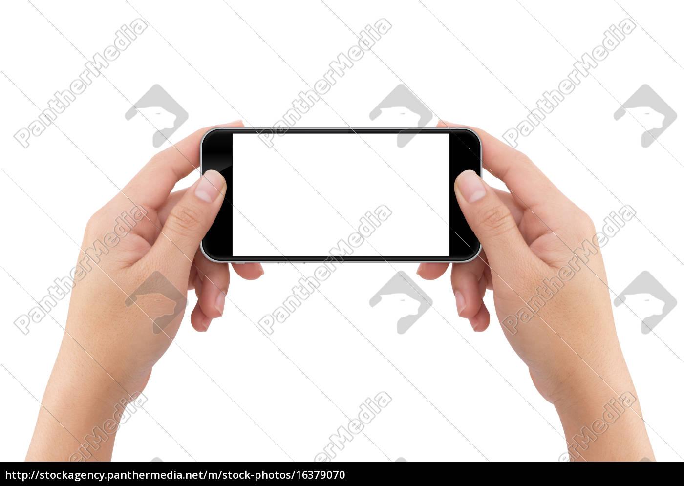 mano, che, tiene, il, telefono, schermo - 16379070