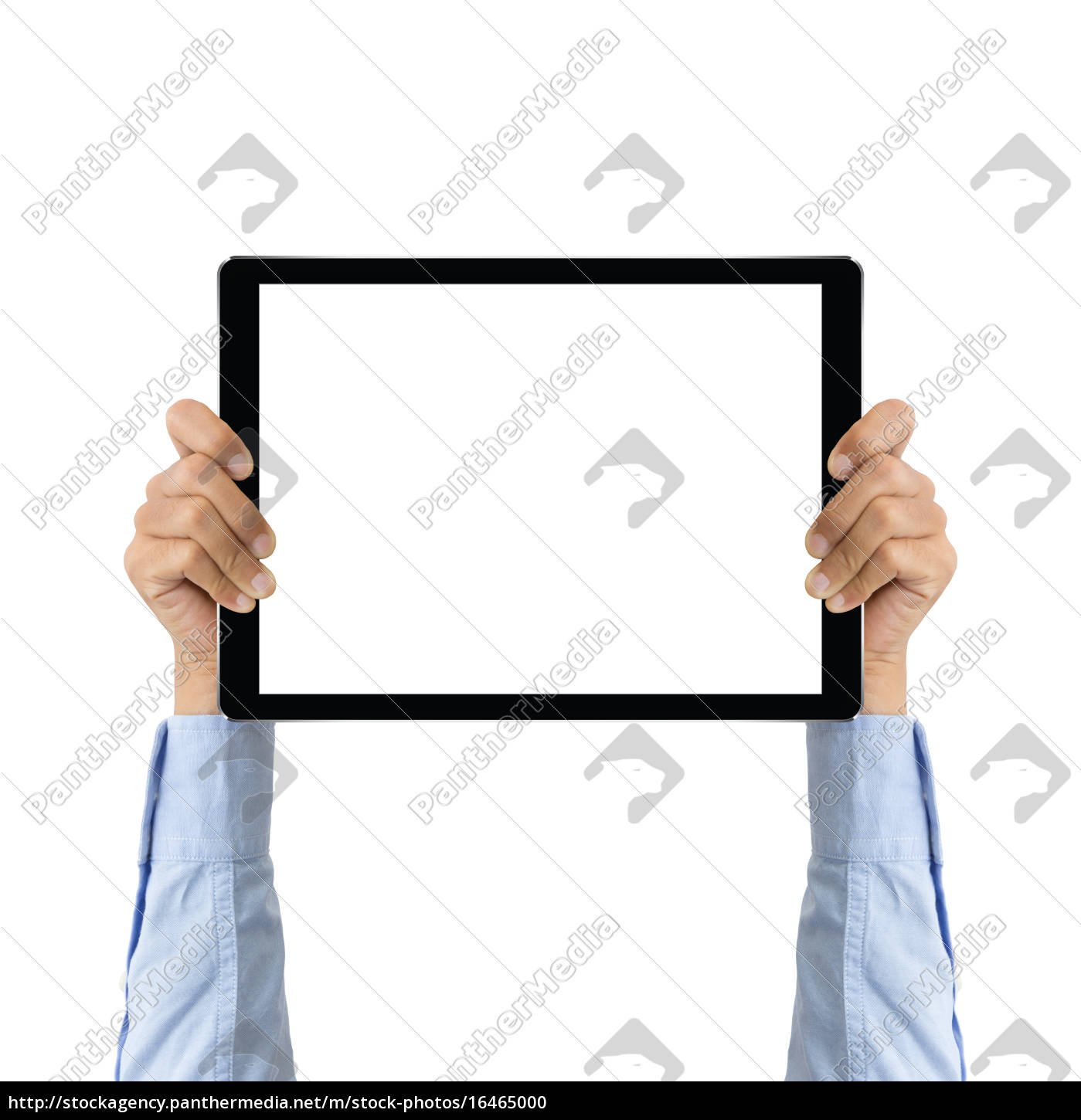 business, hand, holding, tablet, showing, screen - 16465000