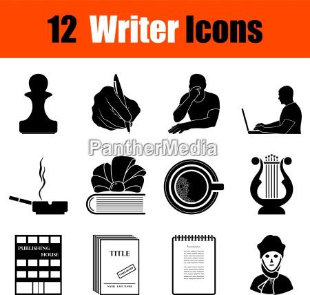 set di icone scrittore