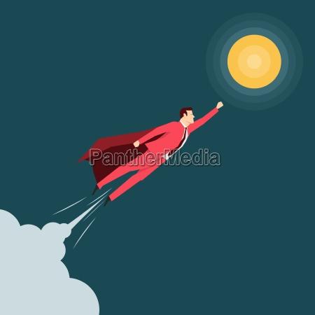 uomo daffari vestito rosso supereroe illustrazione