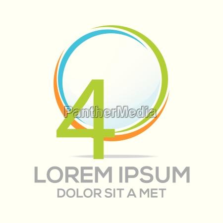 logotipo cuatro numero de vector