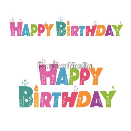 buon compleanno lettere con decorazione di