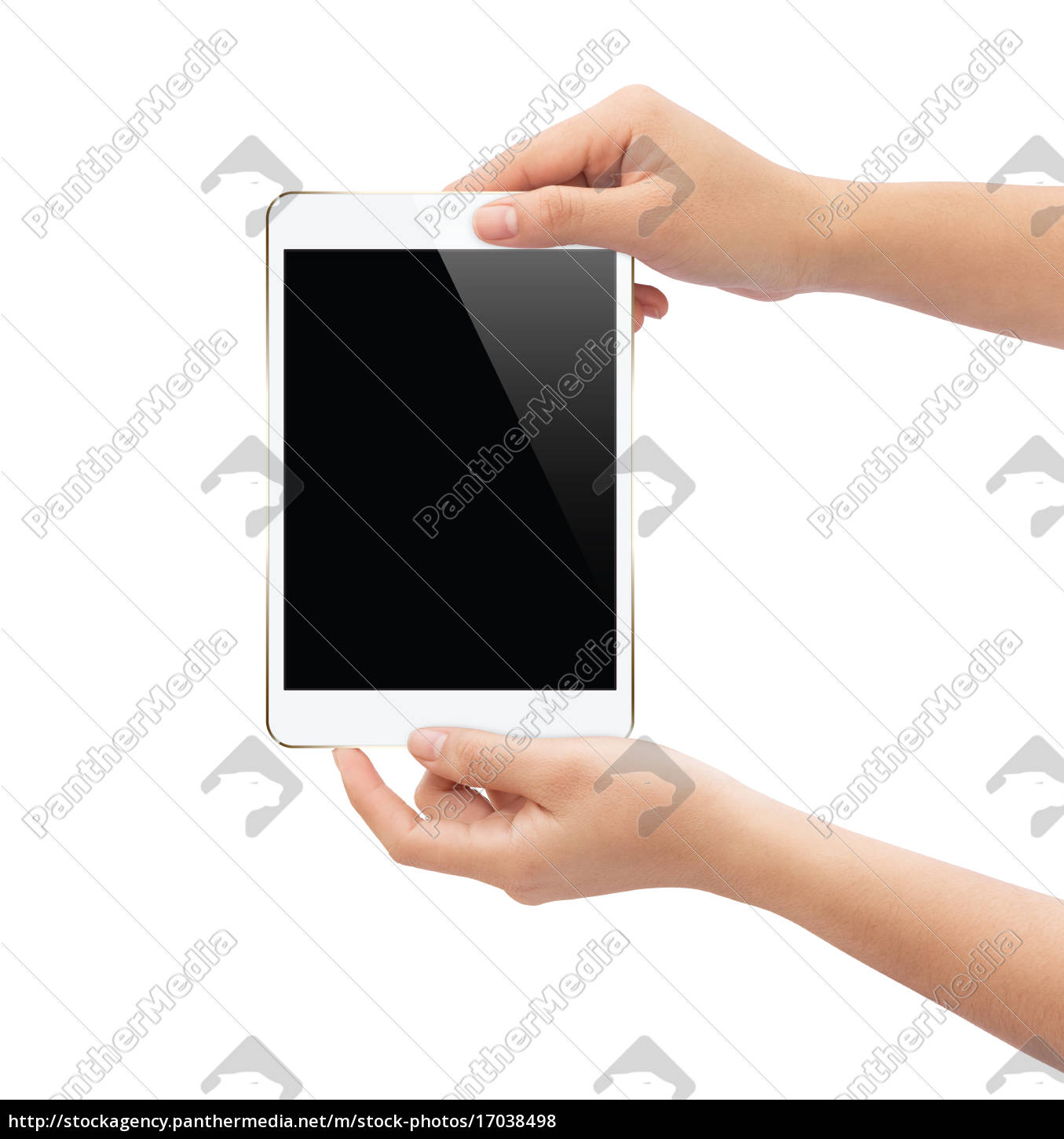 hand, holding, white, tablet, isolated, on - 17038498