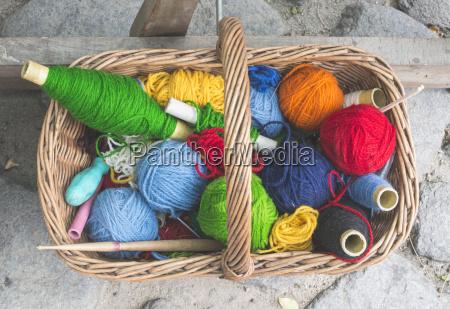 annata lana cestino fotografia foto tradizione