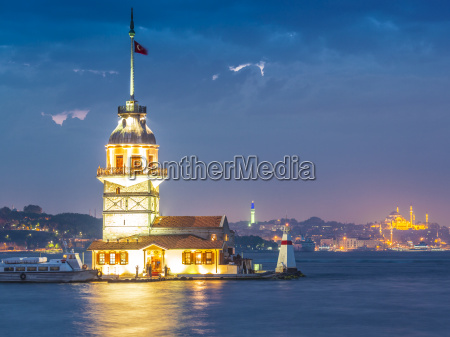 turkey istanbul view to lighted maidens