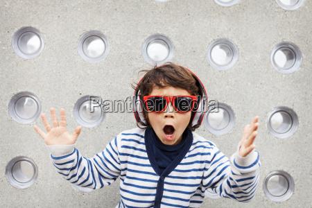 portrait of little boy with sunglasses