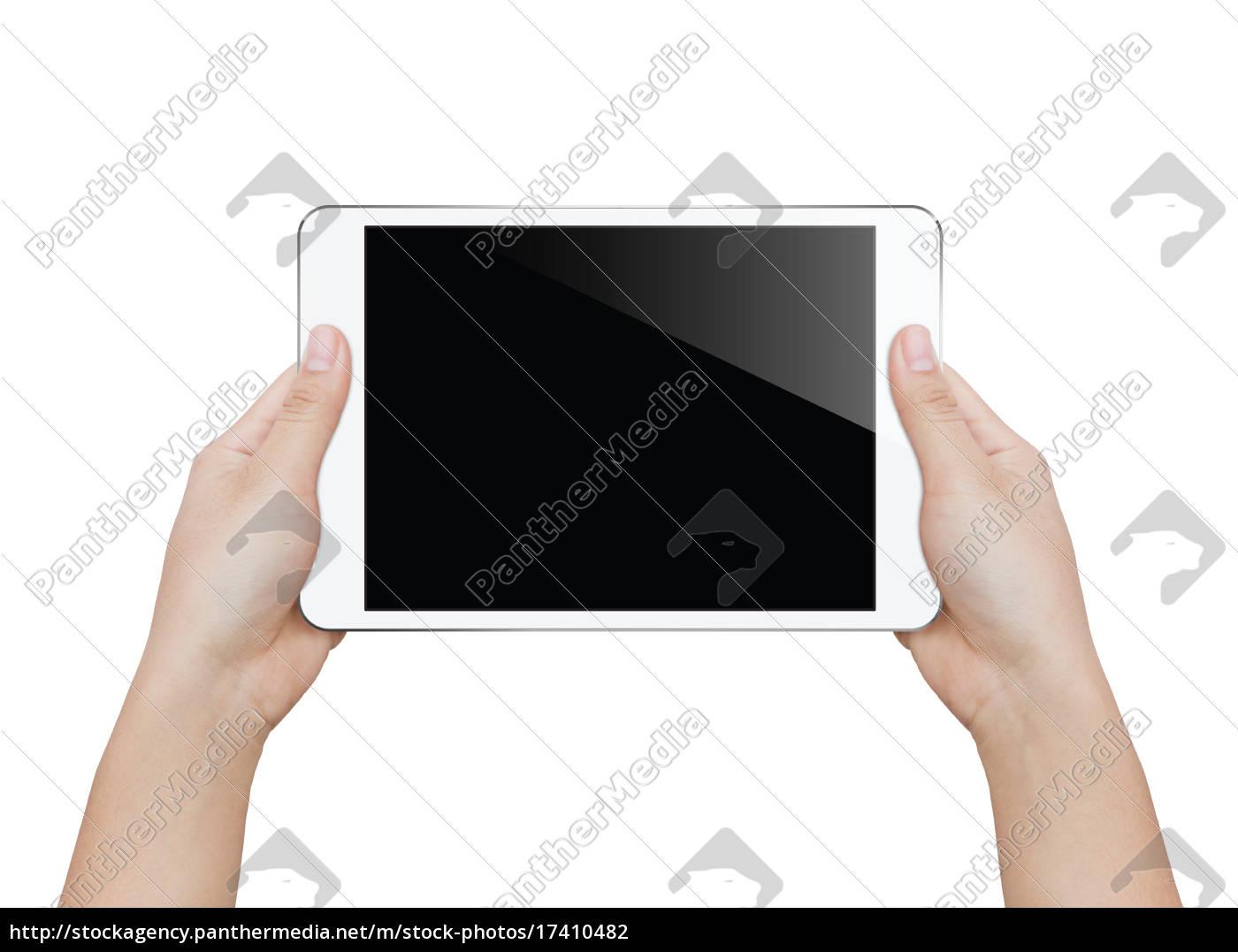 primo, piano, donna, mano, tenendo, tablet - 17410482