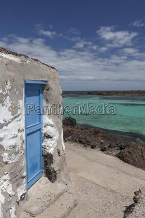 blue door of an old house