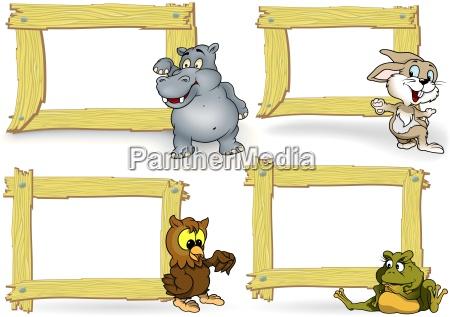 telaio in legno con animale cartoon