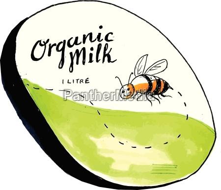 bee organic milk label drawing