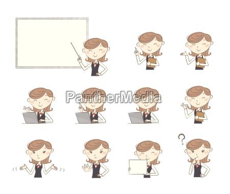 set di pose ed emozioni impiegato