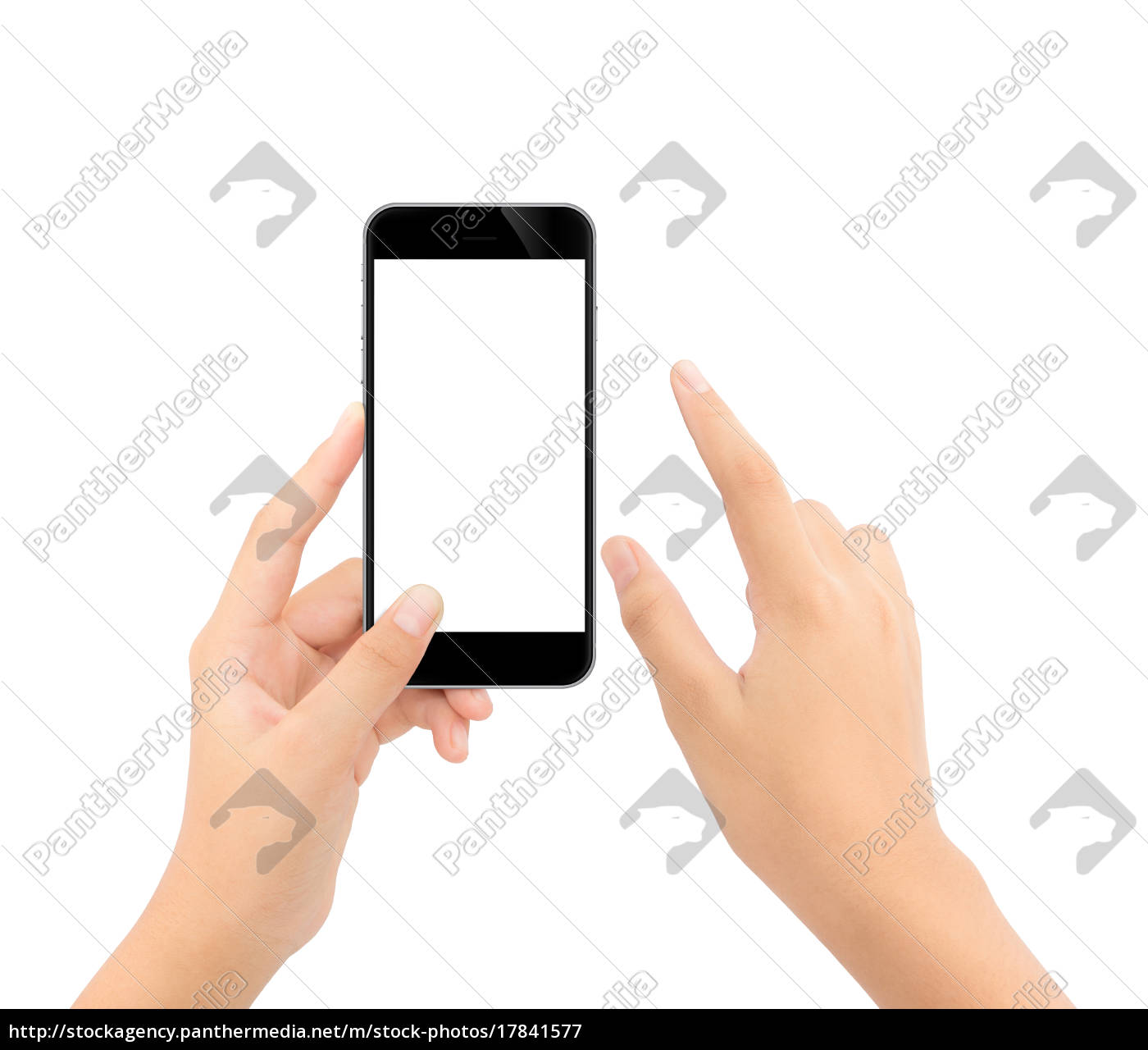 close, up, hand, touching, on, phone - 17841577
