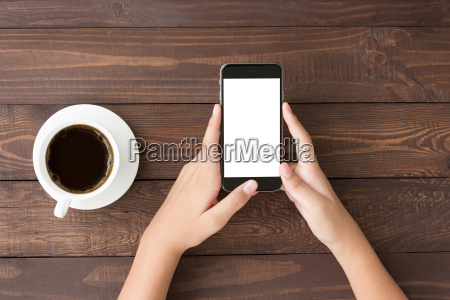phone white screen in woman hand