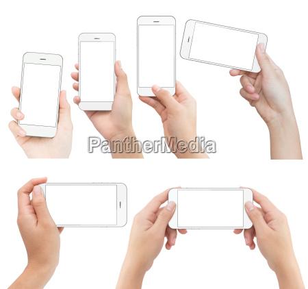 mano azienda telefono bianco isolato con