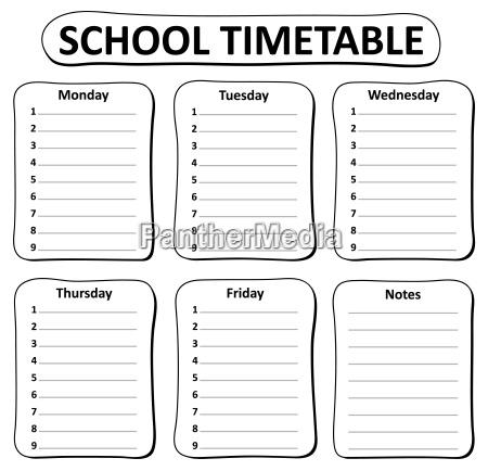 tema orario scolastico in bianco e