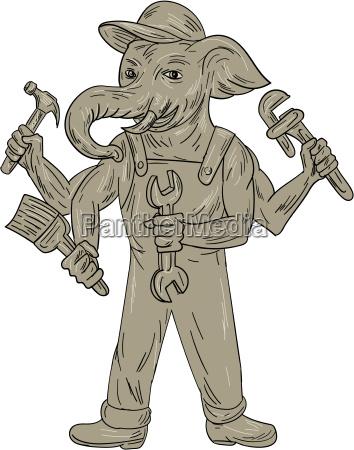 ganesha elephant handyman tools drawing