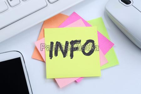 info info informazioni notizie concept desk