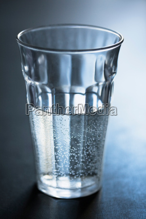 air bubbles in glass of water