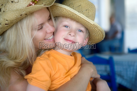 woman with young boy