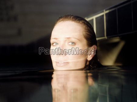 woman in water portrait close up