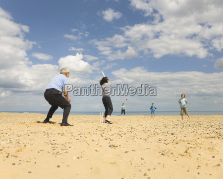 people playing cricket on a beach