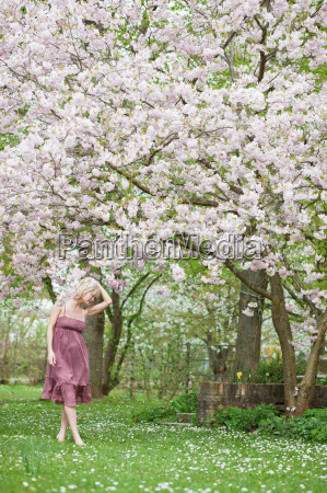 woman walking in garden