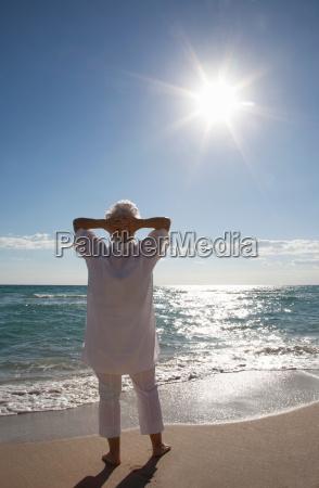 senior woman on the beach