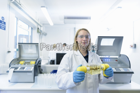 portrait of female scientist with oil