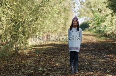 girl on country lane