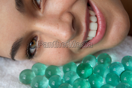 close up of woman with glass