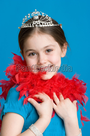 girl with tiara and feather boa