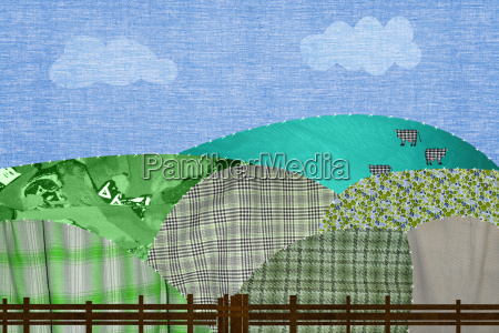 patchwork field with cows