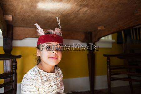 girl in native american costume