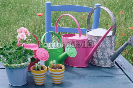 watering cans and flowerpots on a