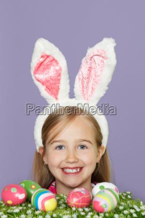 girl wearing rabbit ears