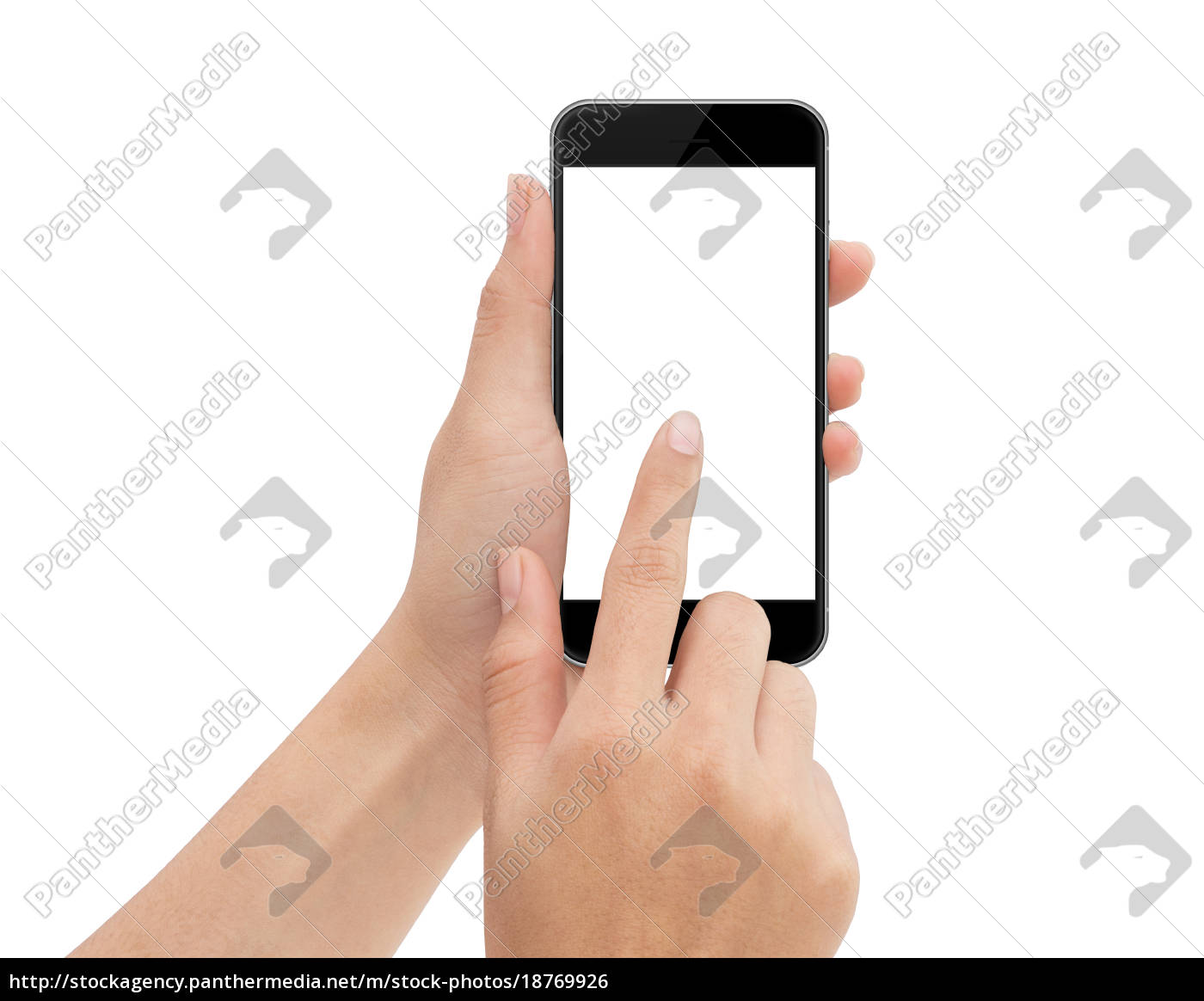 hand, touch, phone, isolated, with, clipping - 18769926