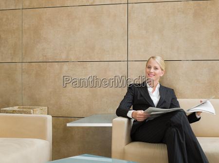 portrait of a businesswoman holding a