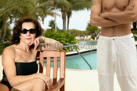 mature woman and young man on