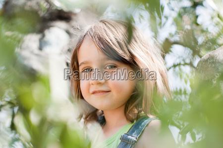 brunette girl looking at camera portrait