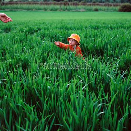 child in field reaching out