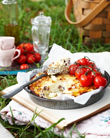 baked ricotta with vine tomatoes on