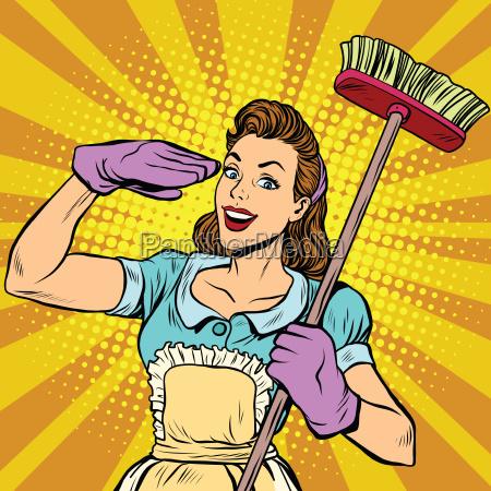 femminile pulizia pulizia azienda pop art