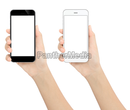 hand holding black and white phone